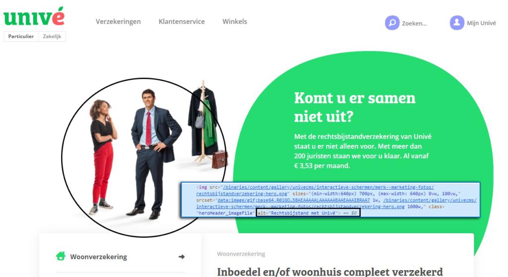 voorbeeld van een juiste alt tekst op de homepage van unive