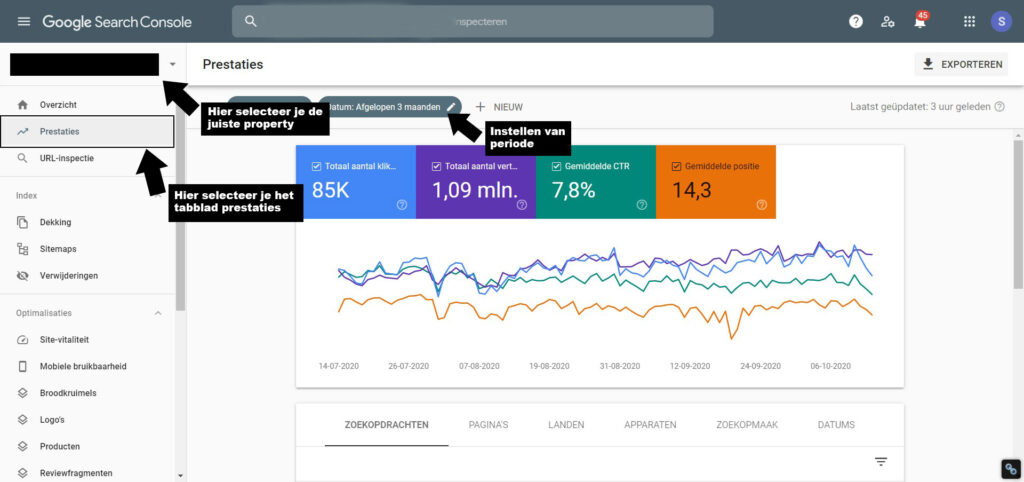uitleg functies in Google search console